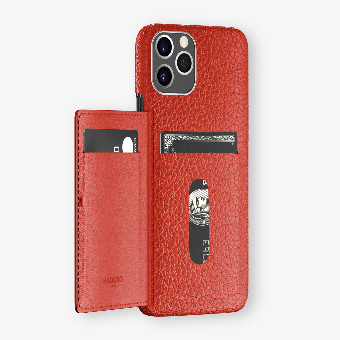 Calfskin Card Holder Flap Case iPhone 11 Pro | Red - Stainless Steel