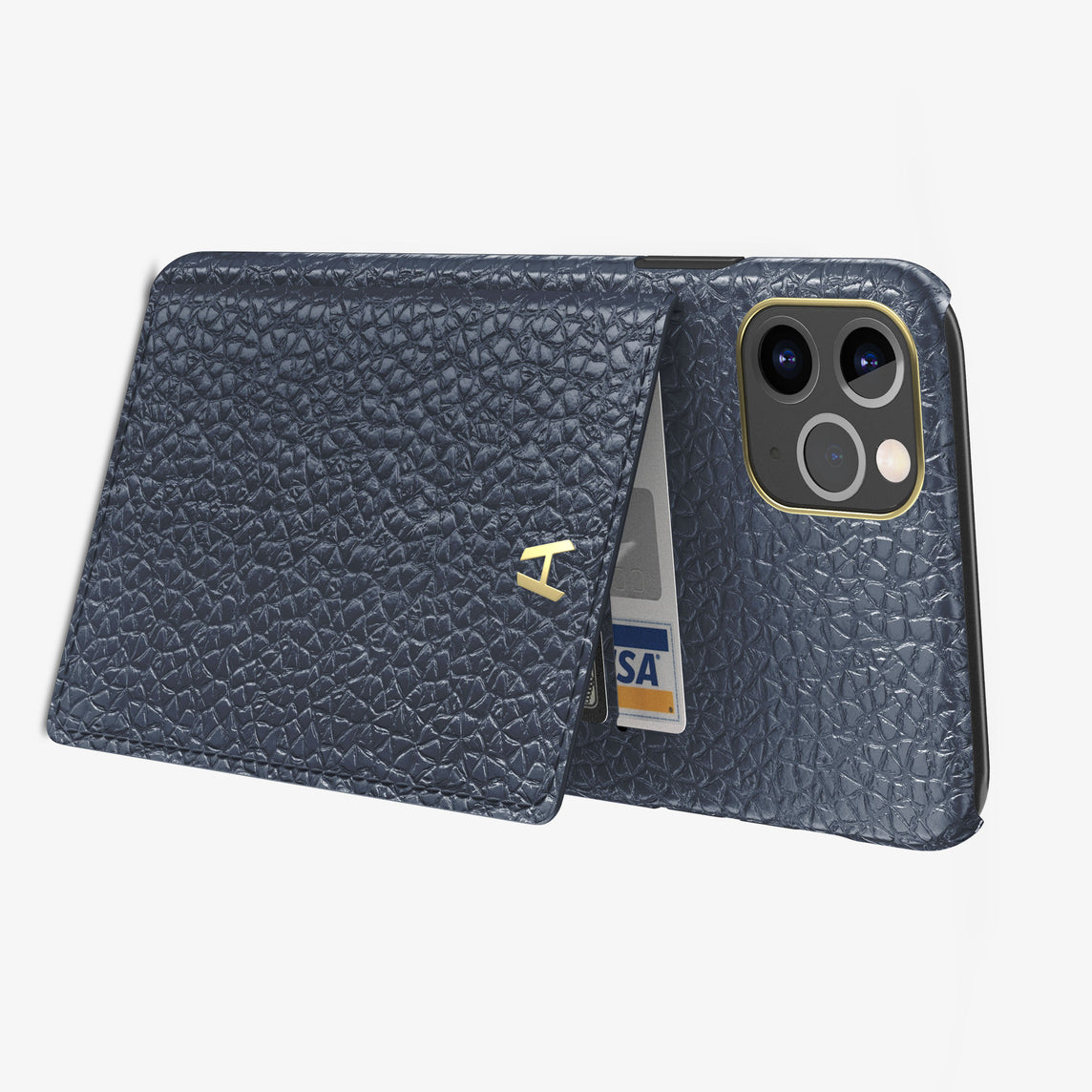 Calfskin Card Holder Flap Case iPhone 11 Pro Max | Navy Blue - Yellow Gold