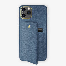 Calfskin Card Holder Flap Case iPhone 11 Pro | Teal - Yellow Gold