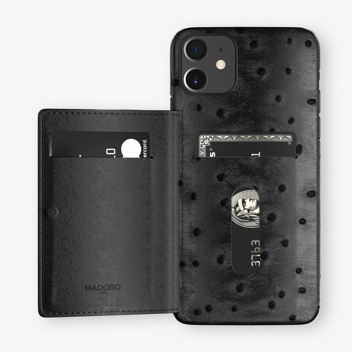 Ostrich Card Holder Flap Case iPhone 11 | Black - Black