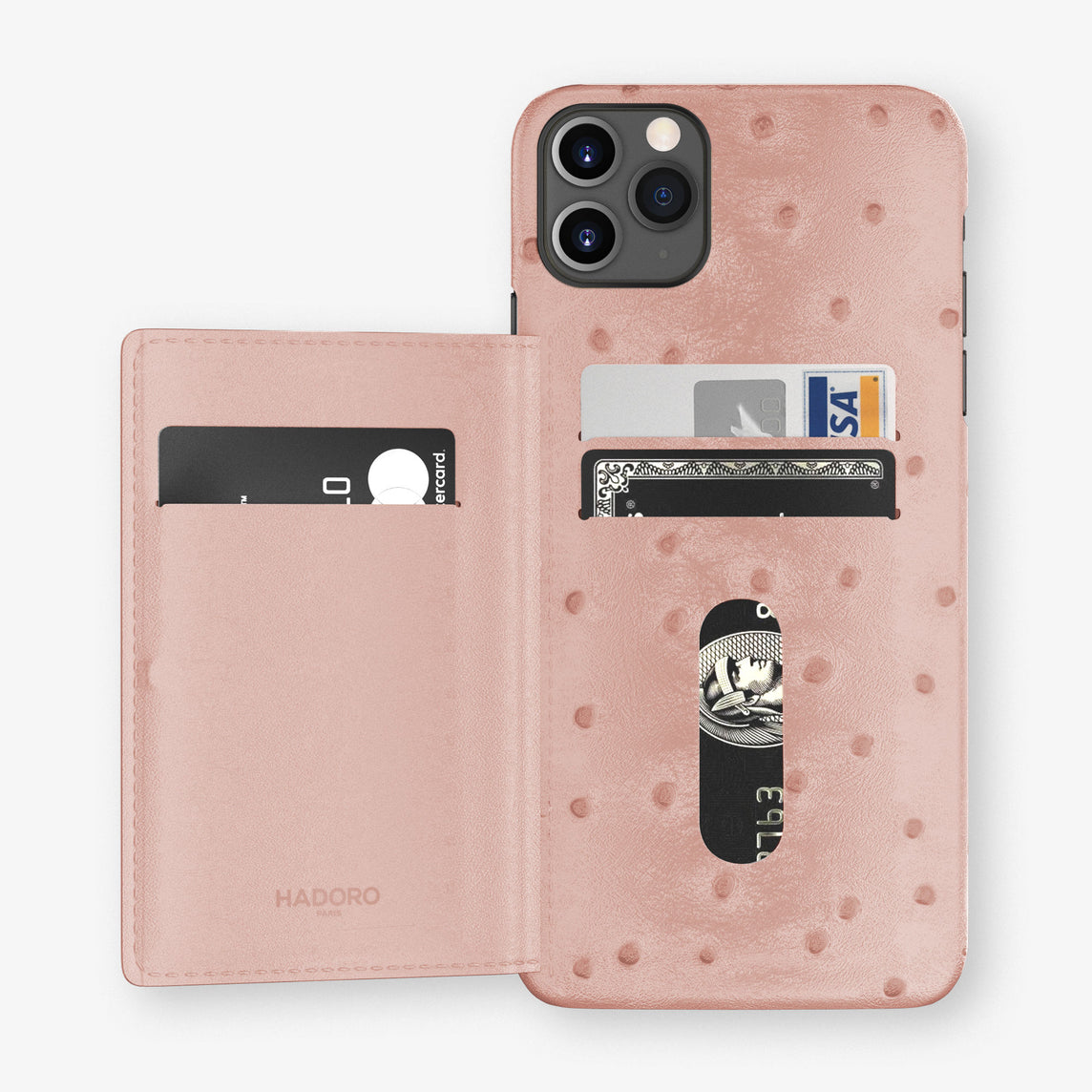 Ostrich Card Holder Flap Case iPhone 11 Pro Max | Pink - Black