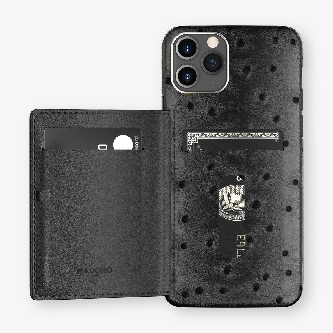 Ostrich Card Holder Flap Case iPhone 11 Pro | Black - Stainless Steel