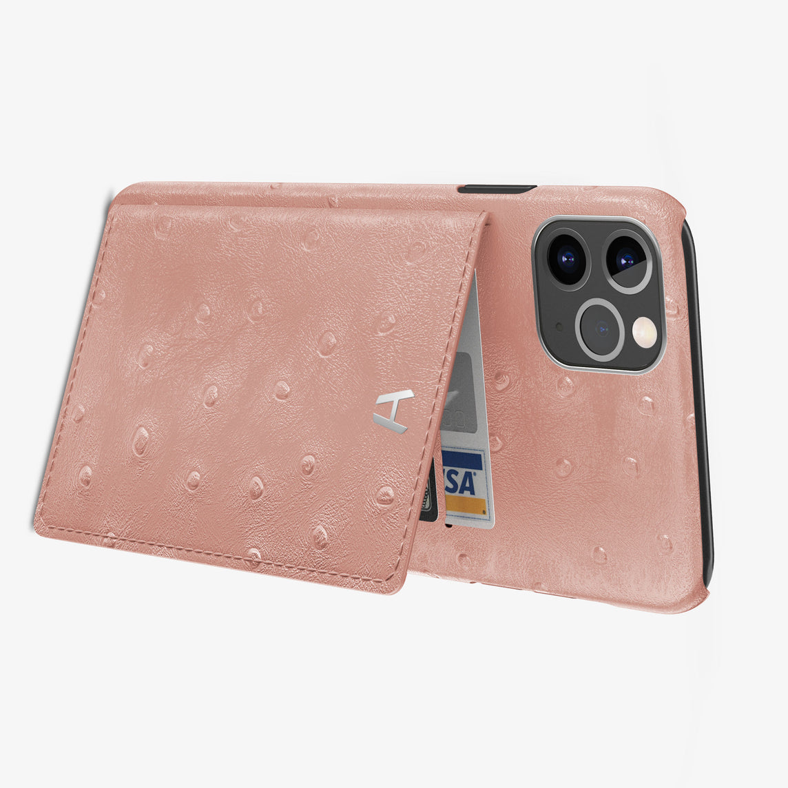 Ostrich Card Holder Flap Case iPhone 11 Pro Max | Pink - Stainless Steel