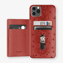 Ostrich Card Holder Flap Case iPhone 11 Pro Max | Red - Stainless Steel