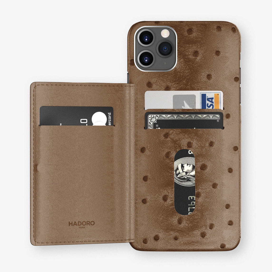 Ostrich Card Holder Flap Case iPhone 11 Pro Max | Tobacco - Stainless Steel