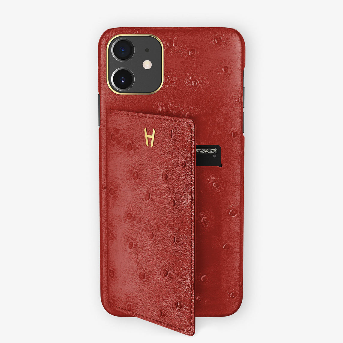 Ostrich Card Holder Flap Case iPhone 11 | Red - Yellow Gold