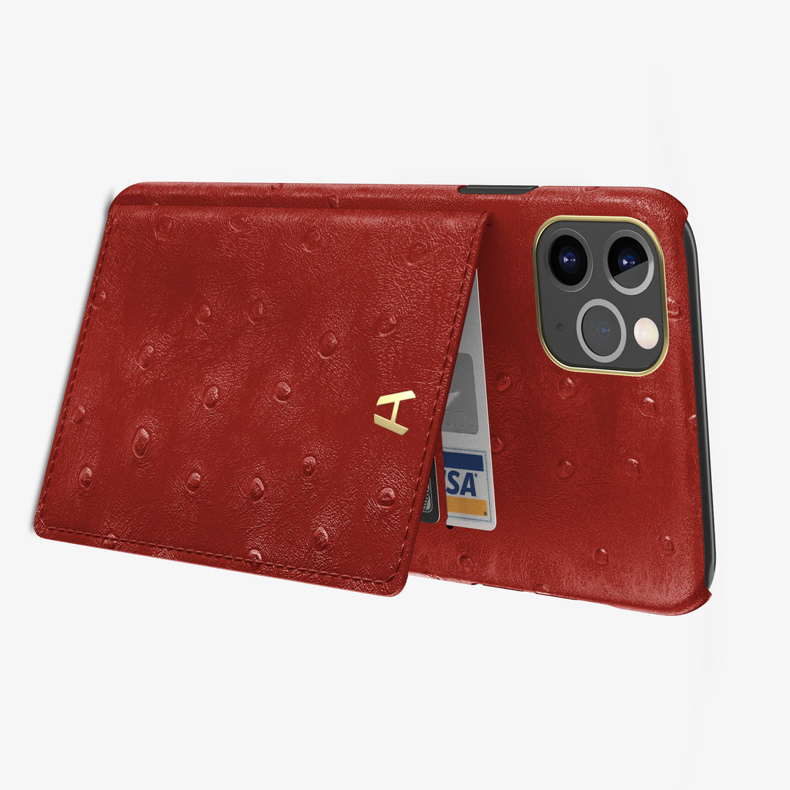Ostrich Card Holder Flap Case iPhone 11 Pro Max | Red - Yellow Gold