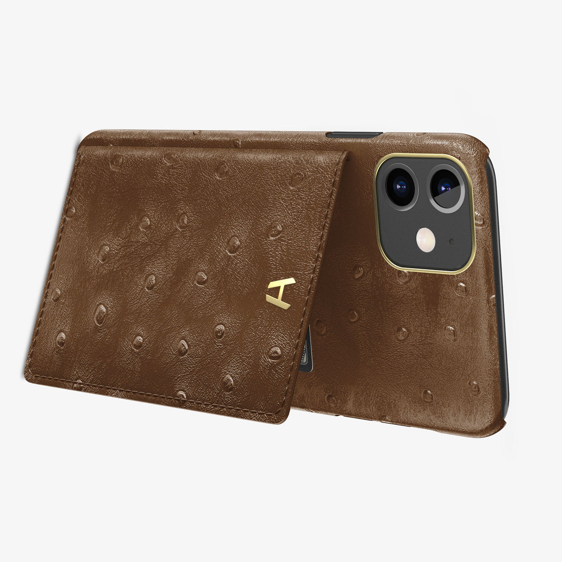 Ostrich Card Holder Flap Case iPhone 11 | Tobacco - Yellow Gold