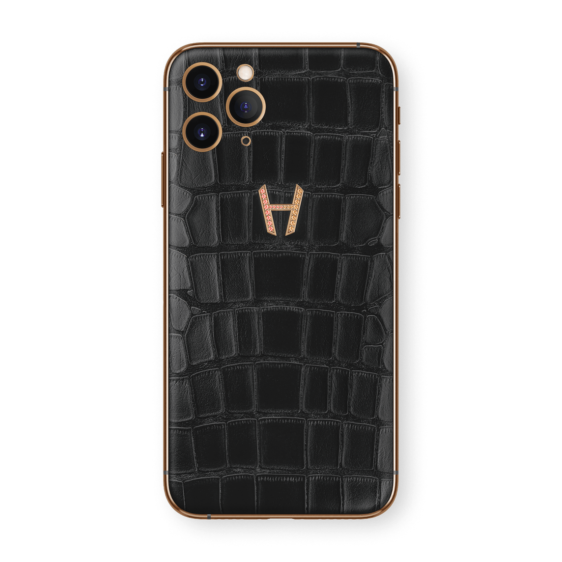 Hadoro iPhone 11 Pro Signature | Alligator - Rose Gold - Prism Diamonds - Black