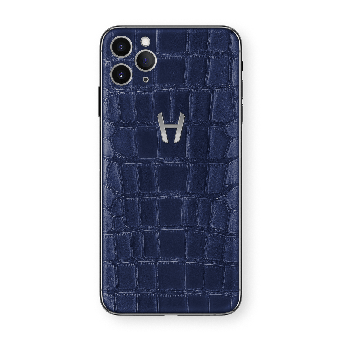 Hadoro iPhone 11 Pro Max Signature | Alligator - Stainless Steel- Navy Blue