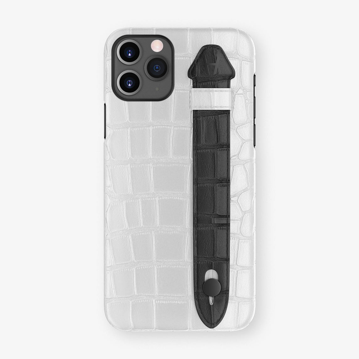 Alligator Side Finger Case Phone 11 Pro  | White/Black - Black