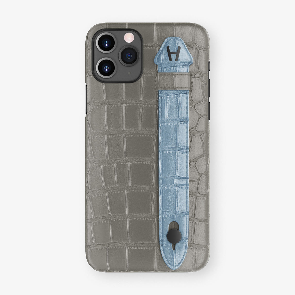Alligator Side Finger Case Phone 11 Pro  | Grey/Blue-Ciel - Black