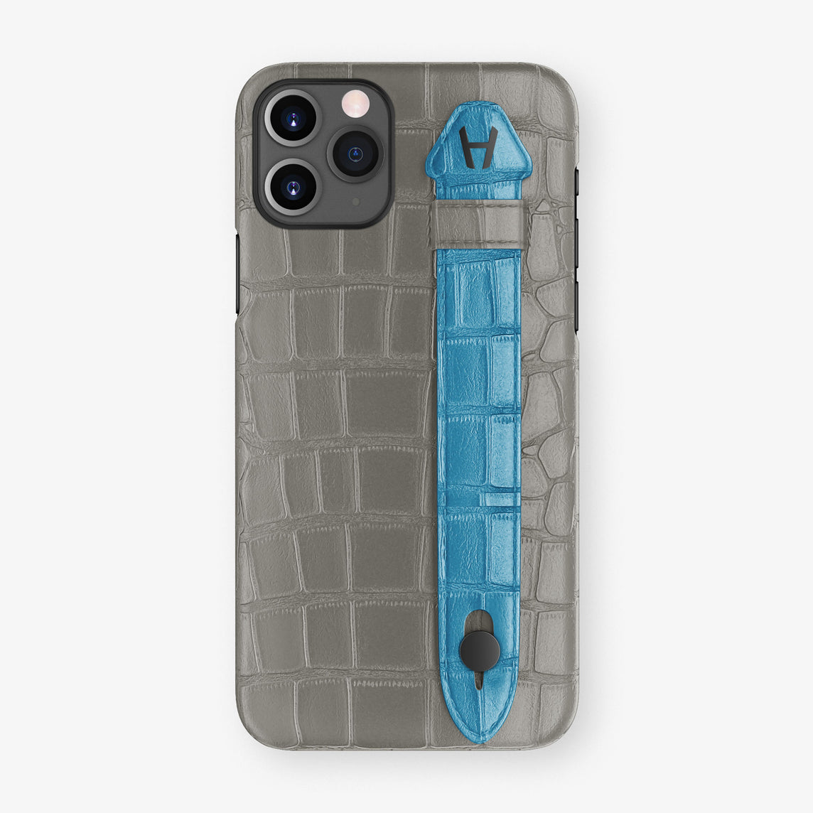 Alligator Side Finger Case Phone 11 Pro  | Grey/Blue-Lagoon - Black