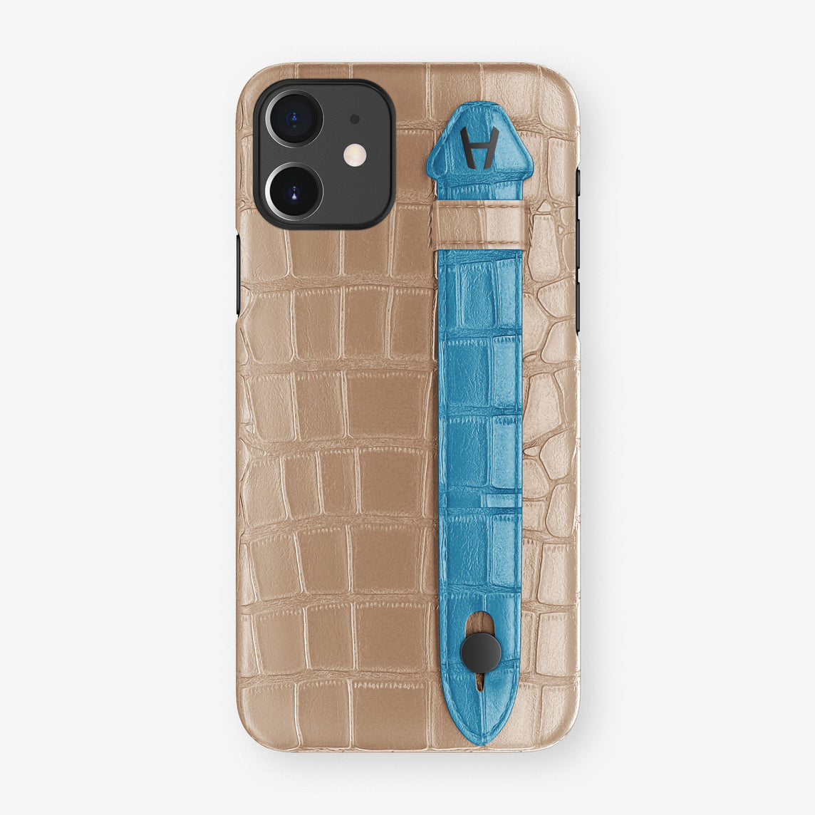Alligator Side Finger Case Phone 11  | Latte/Blue-Lagoon - Black