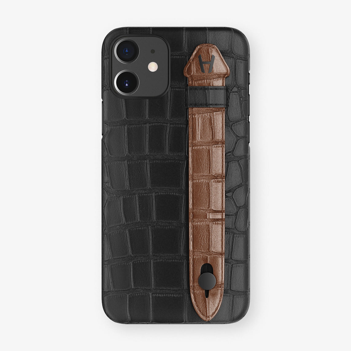 Alligator Side Finger Case Phone 11  | Black/Brown - Black