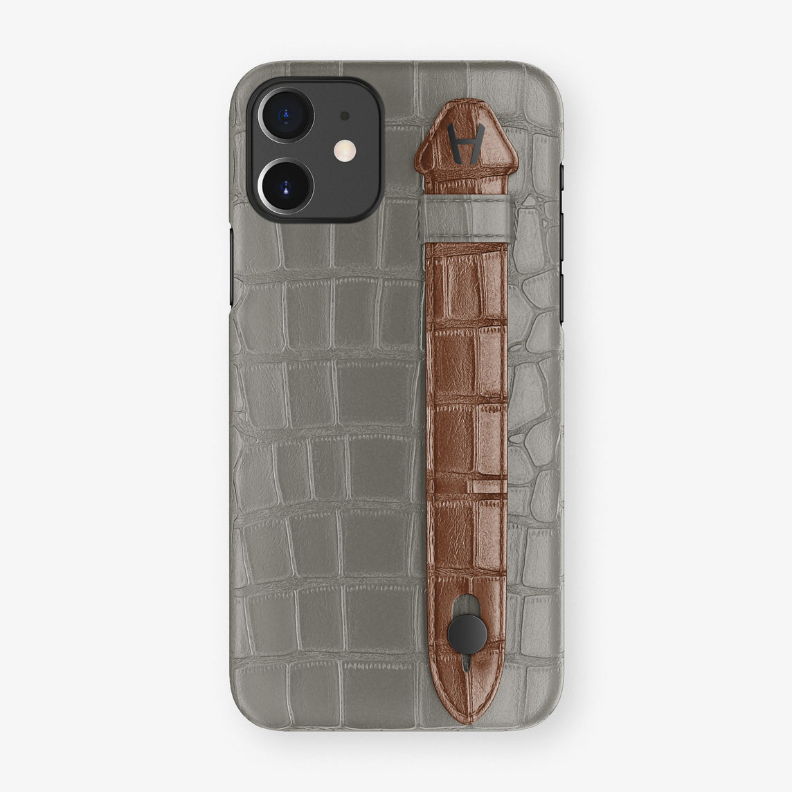 Alligator Side Finger Case Phone 11  | Grey/Brown - Black