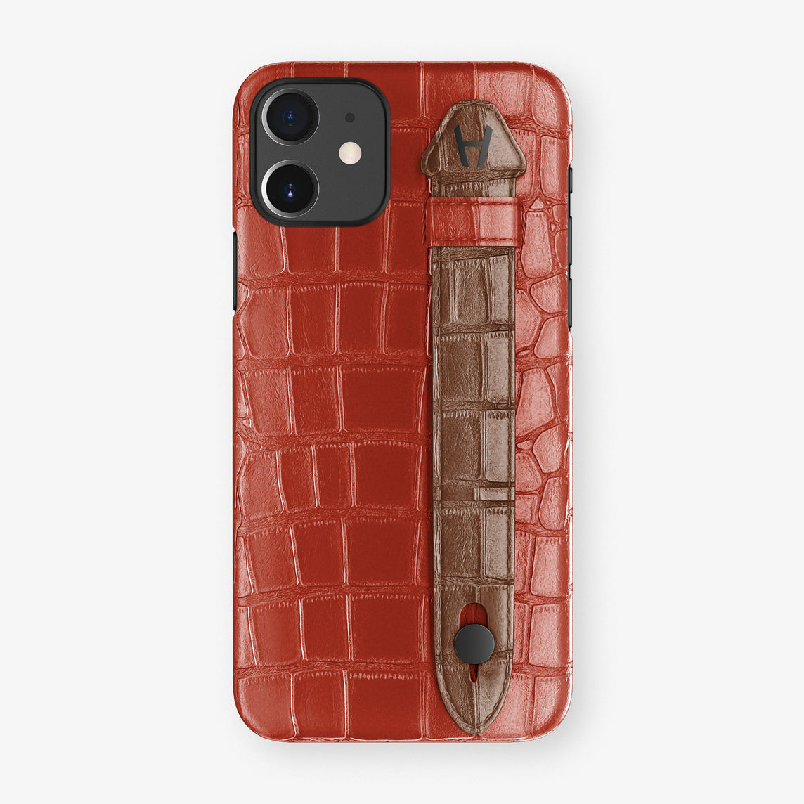 Alligator Side Finger Case Phone 11  | Red/Brown - Black