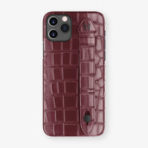Alligator Side Finger Case Phone 11 Pro  | Burgundy/Burgundy - Black