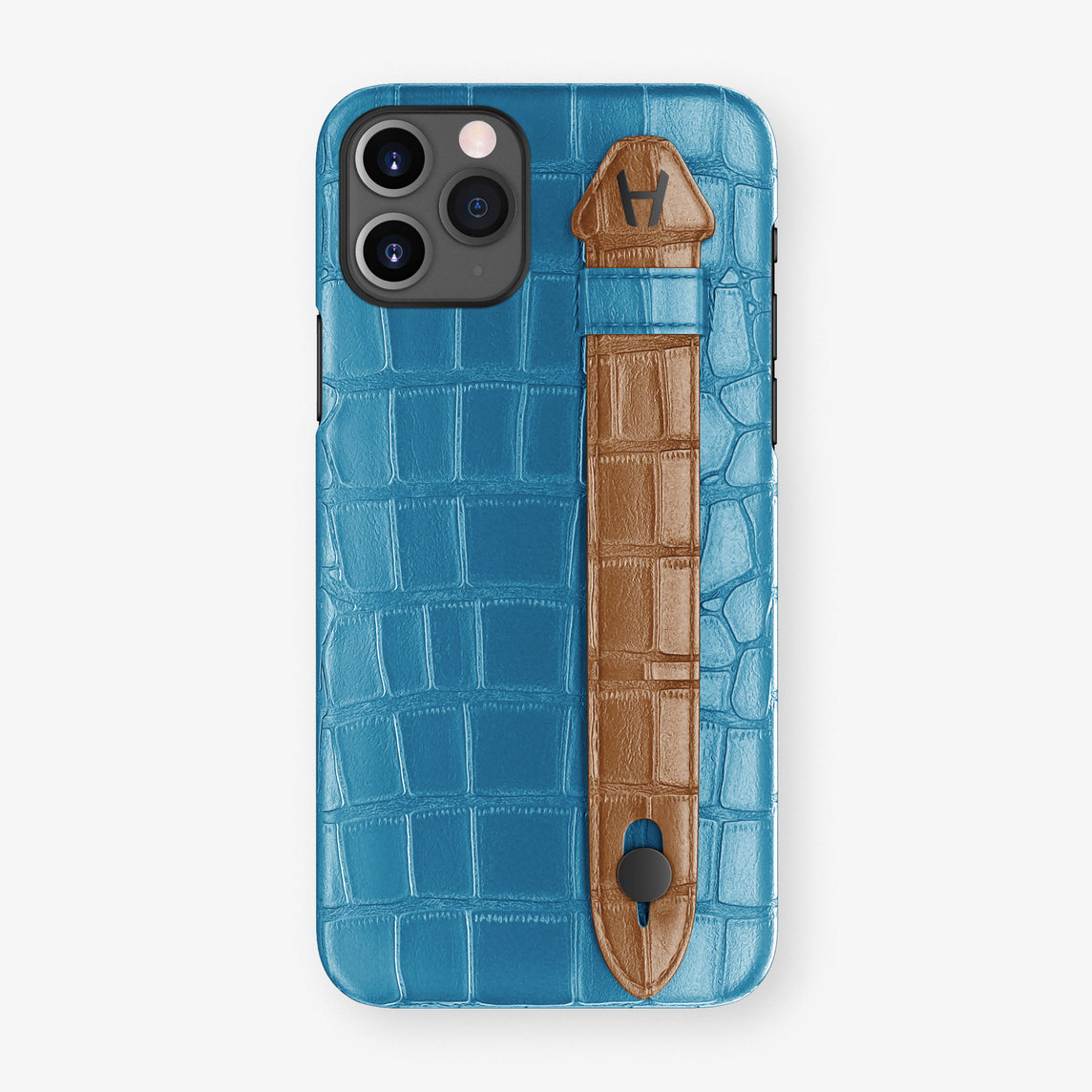 Alligator Side Finger Case Phone 11 Pro  | Blue-Lagoon/Cognac - Black