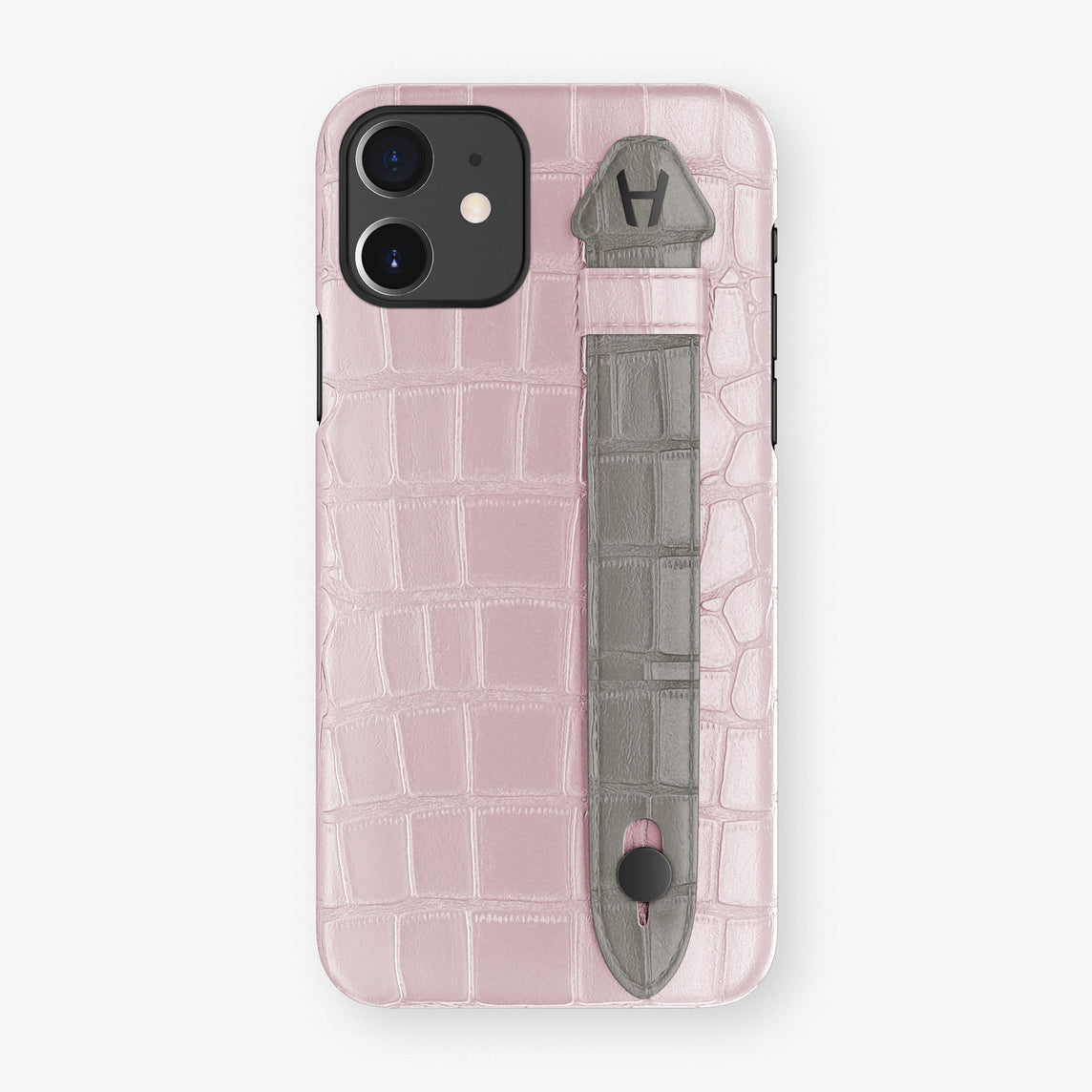 Alligator Side Finger Case Phone 11  | Pink-Poudre/Grey - Black