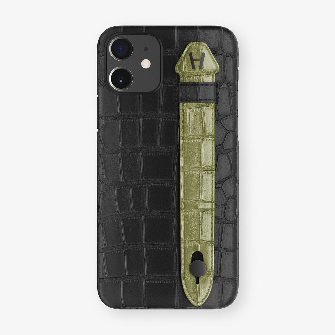 Alligator Side Finger Case Phone 11  | Black/Khaki - Black