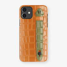 Alligator Side Finger Case Phone 11  | Orange/Khaki - Black