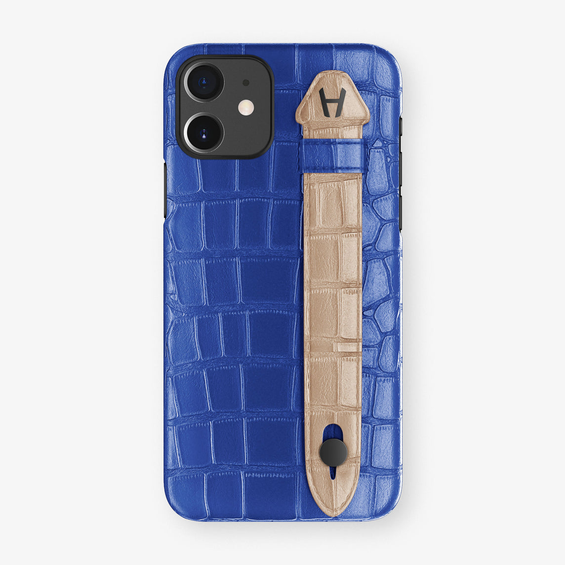 Alligator Side Finger Case Phone 11  | Peony-Blue/Latte - Black