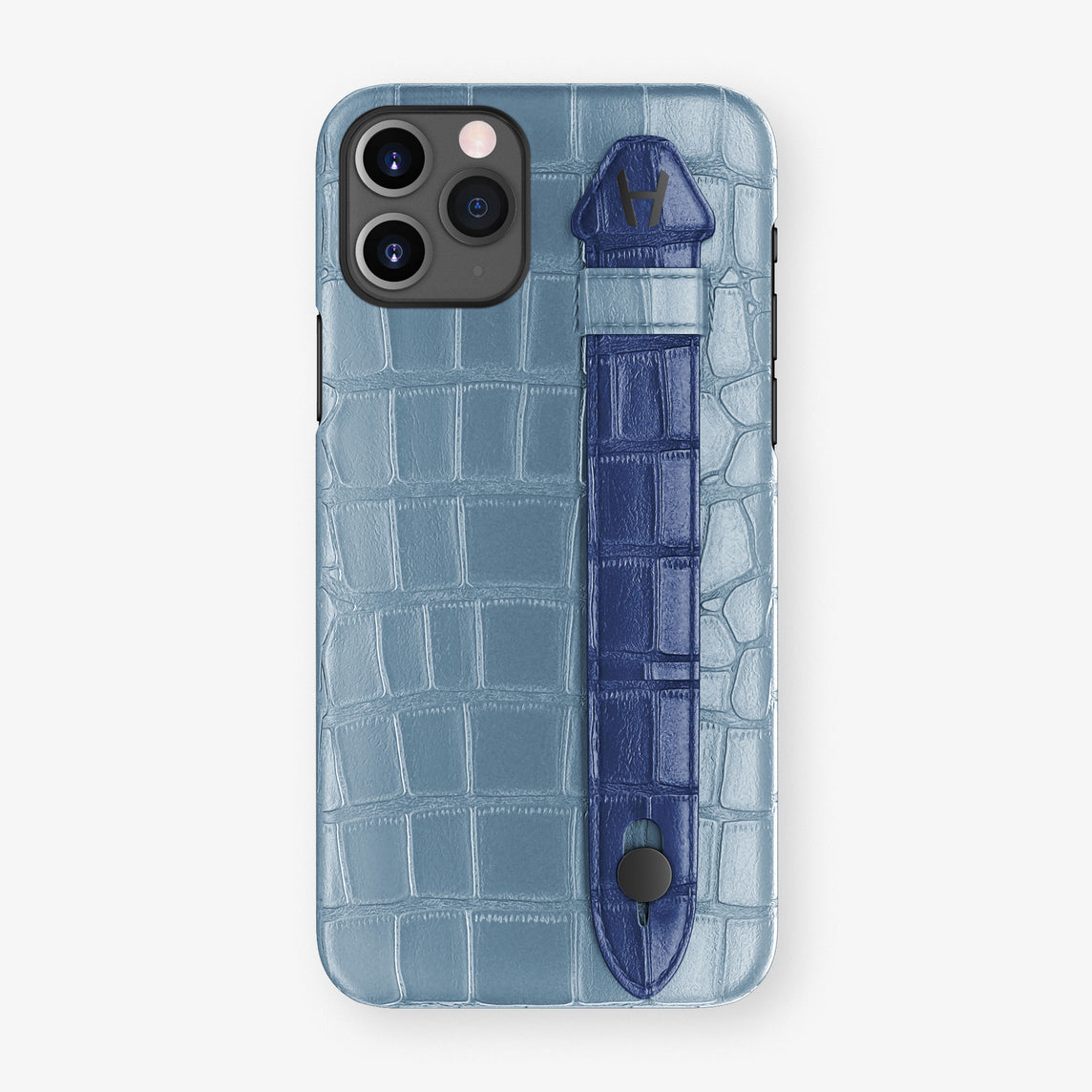 Alligator Side Finger Case Phone 11 Pro  | Blue-Ciel/Navy-Blue - Black