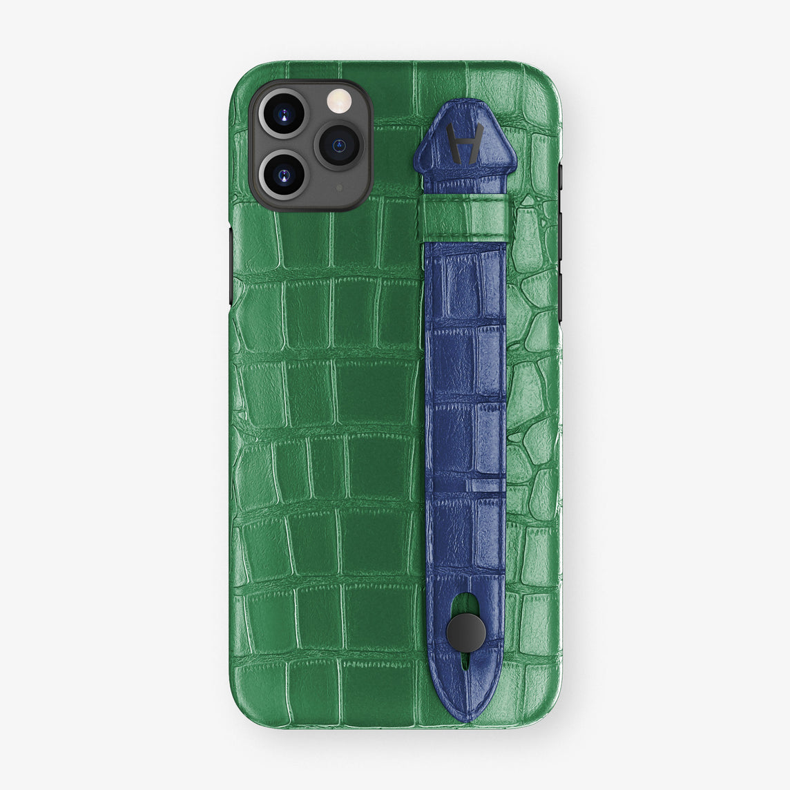 Alligator Side Finger Case Phone 11 Pro Max  | Green Emerald/Navy Blue - Black