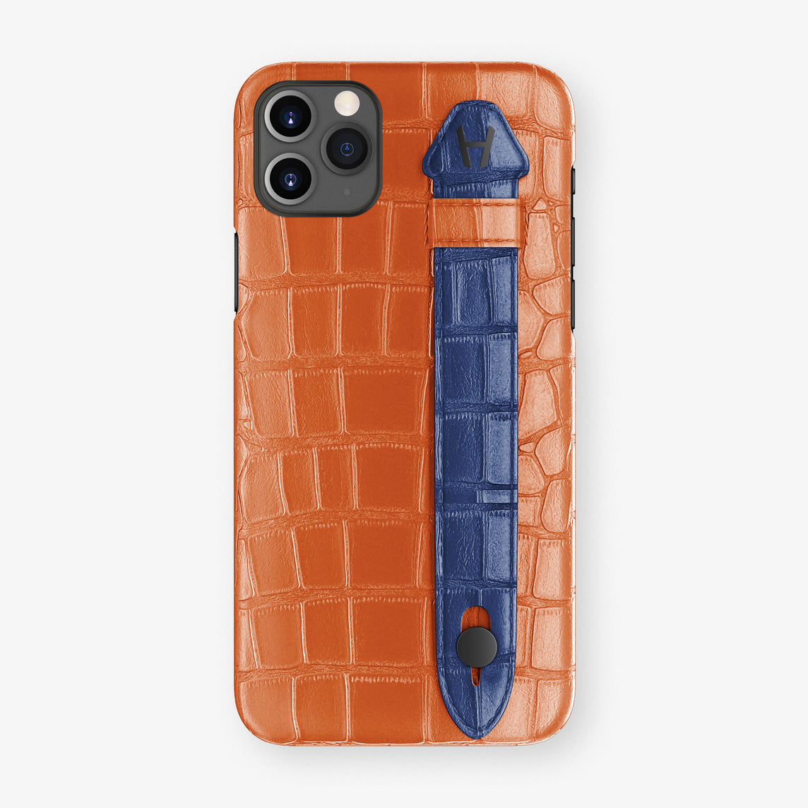 Alligator Side Finger Case Phone 11 Pro Max  | Orange-Sunset/Navy-Blue - Black