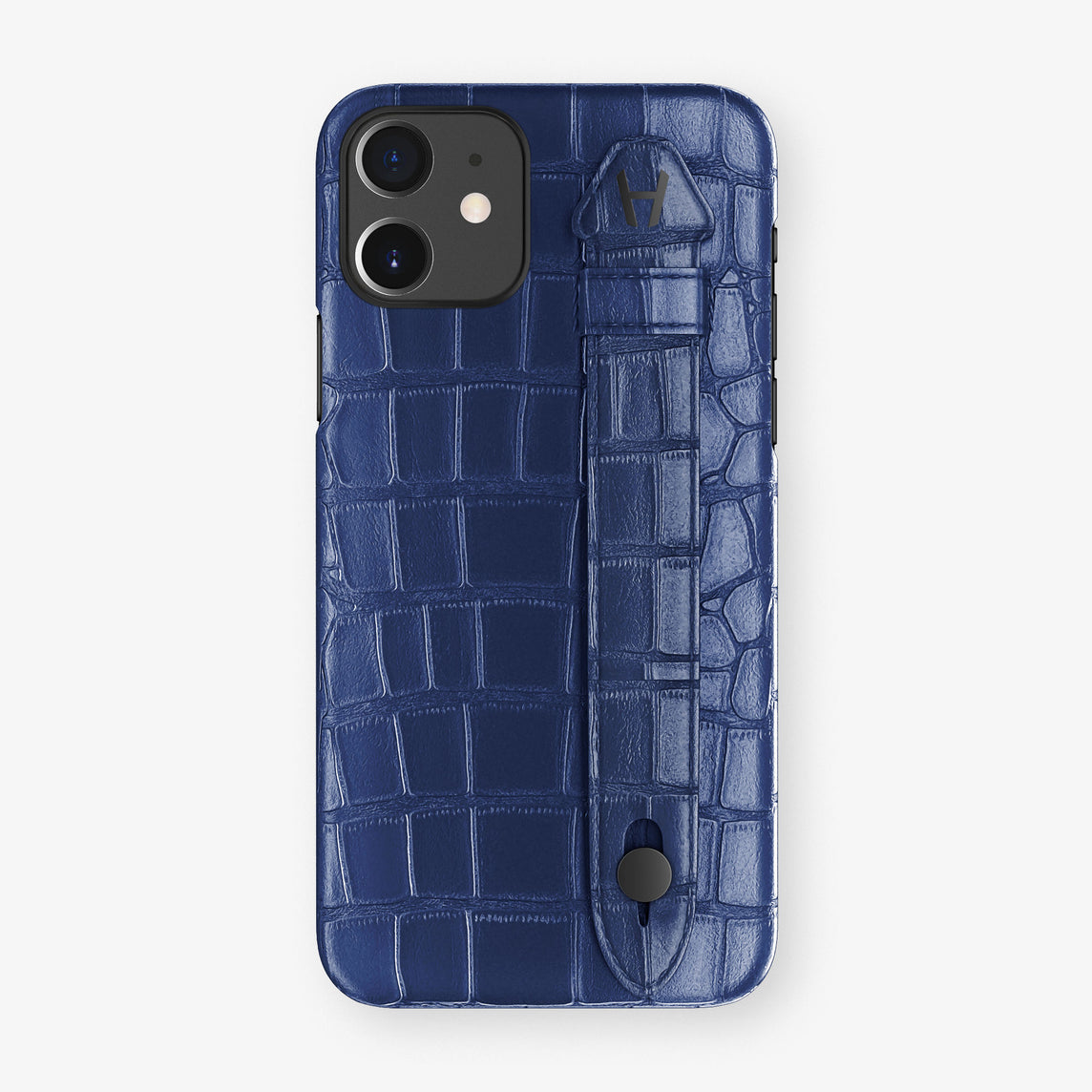 Alligator Side Finger Case Phone 11  | Navy-Blue/Navy-Blue-Nacre - Black