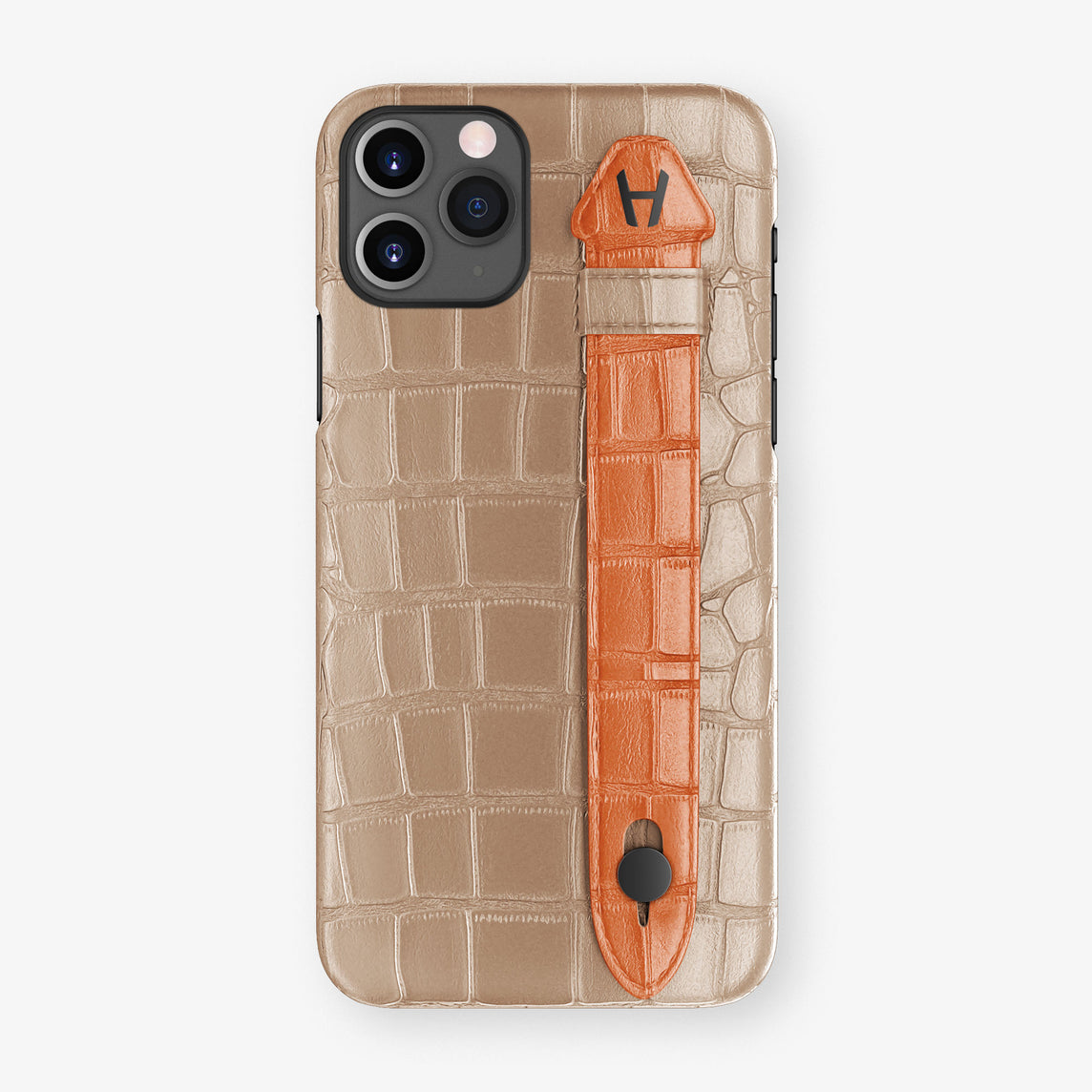 Alligator Side Finger Case Phone 11 Pro  | Latte/Orange-Sunset - Black