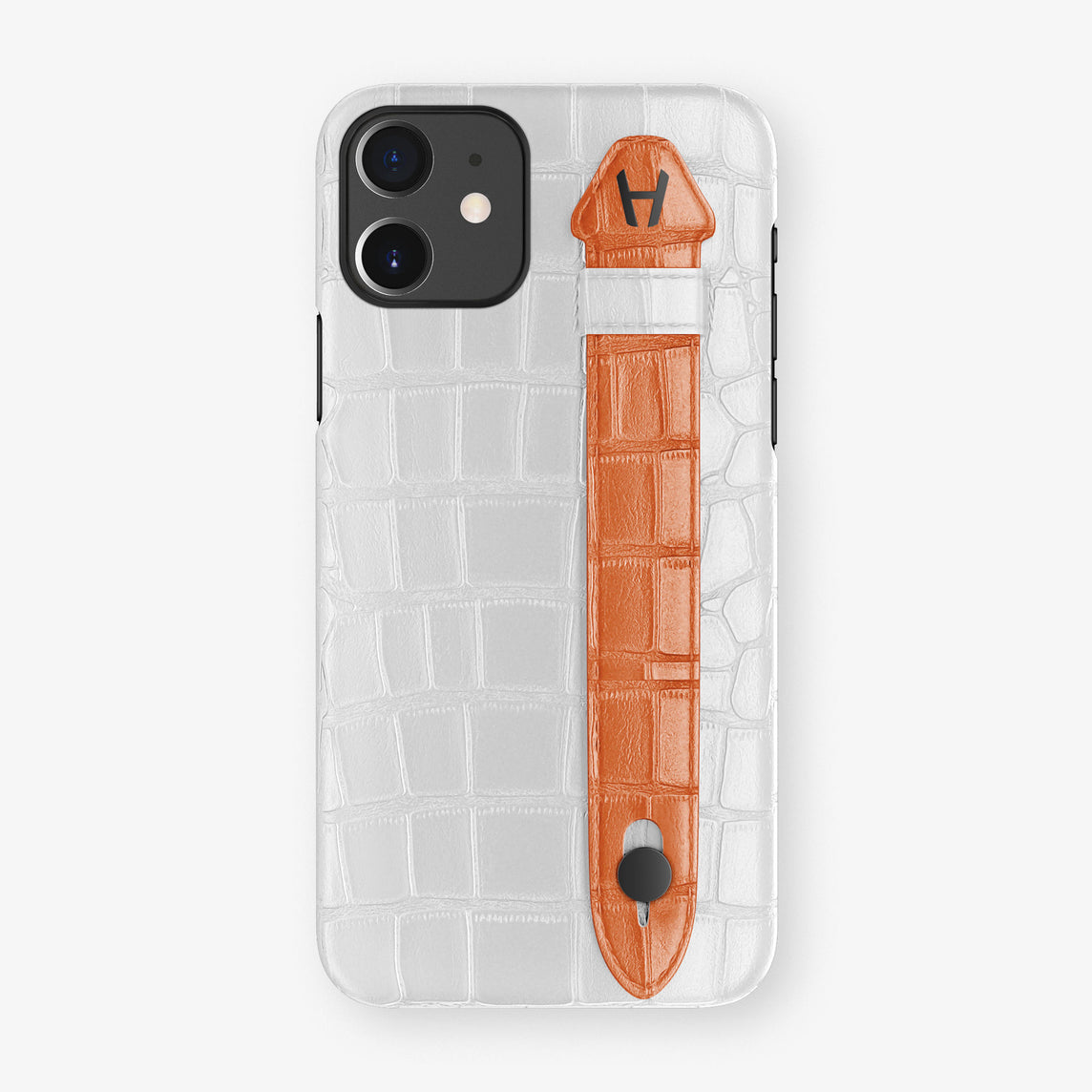 Alligator Side Finger Case Phone 11  | White/Orange-Sunset - Black