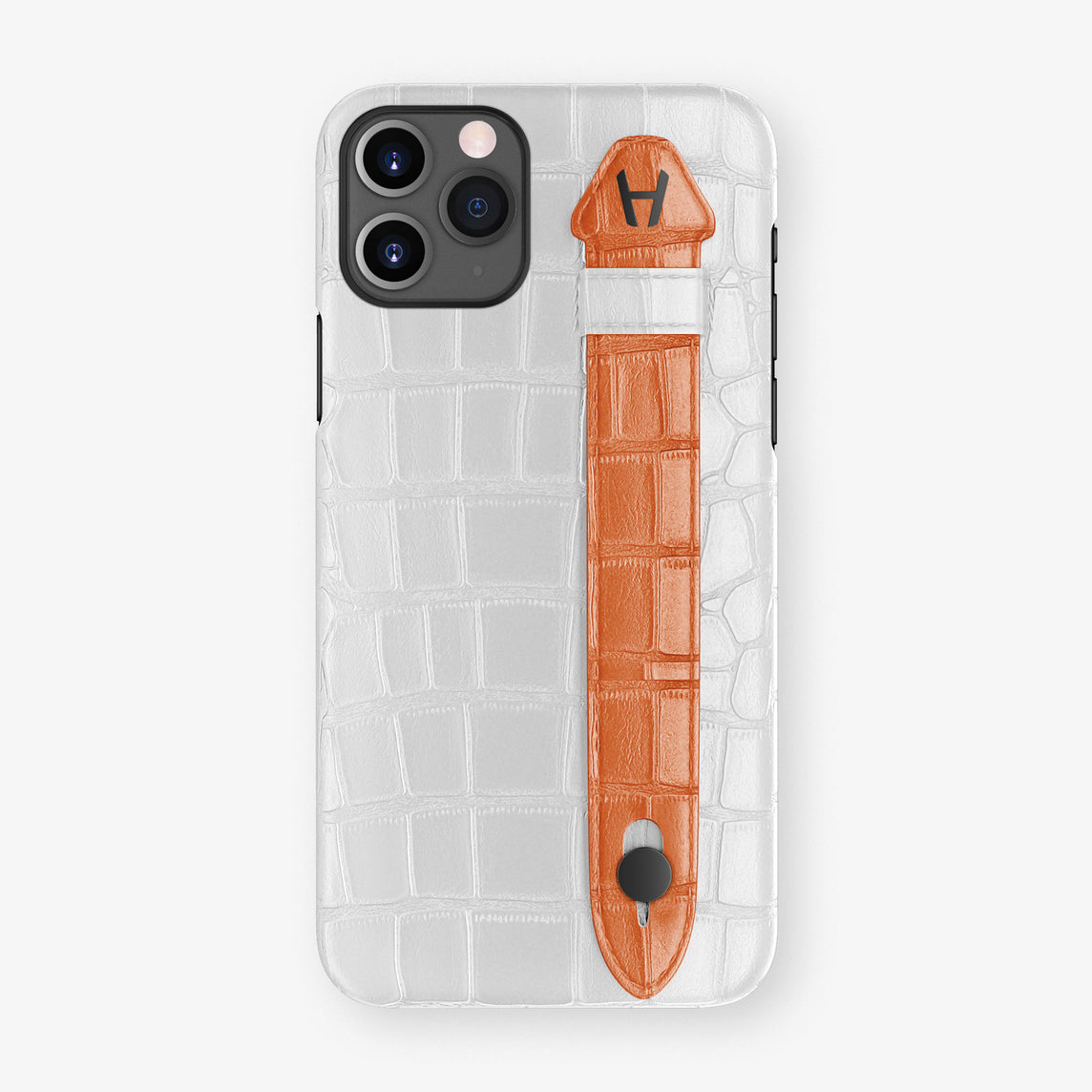 Alligator Side Finger Case Phone 11 Pro  | White/Orange-Sunset - Black