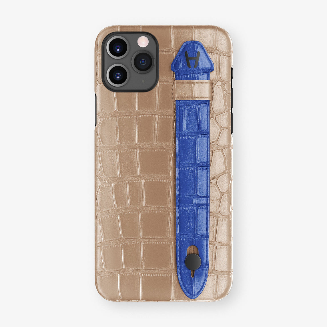Alligator Side Finger Case Phone 11 Pro  | Latte/Peony-Blue - Black