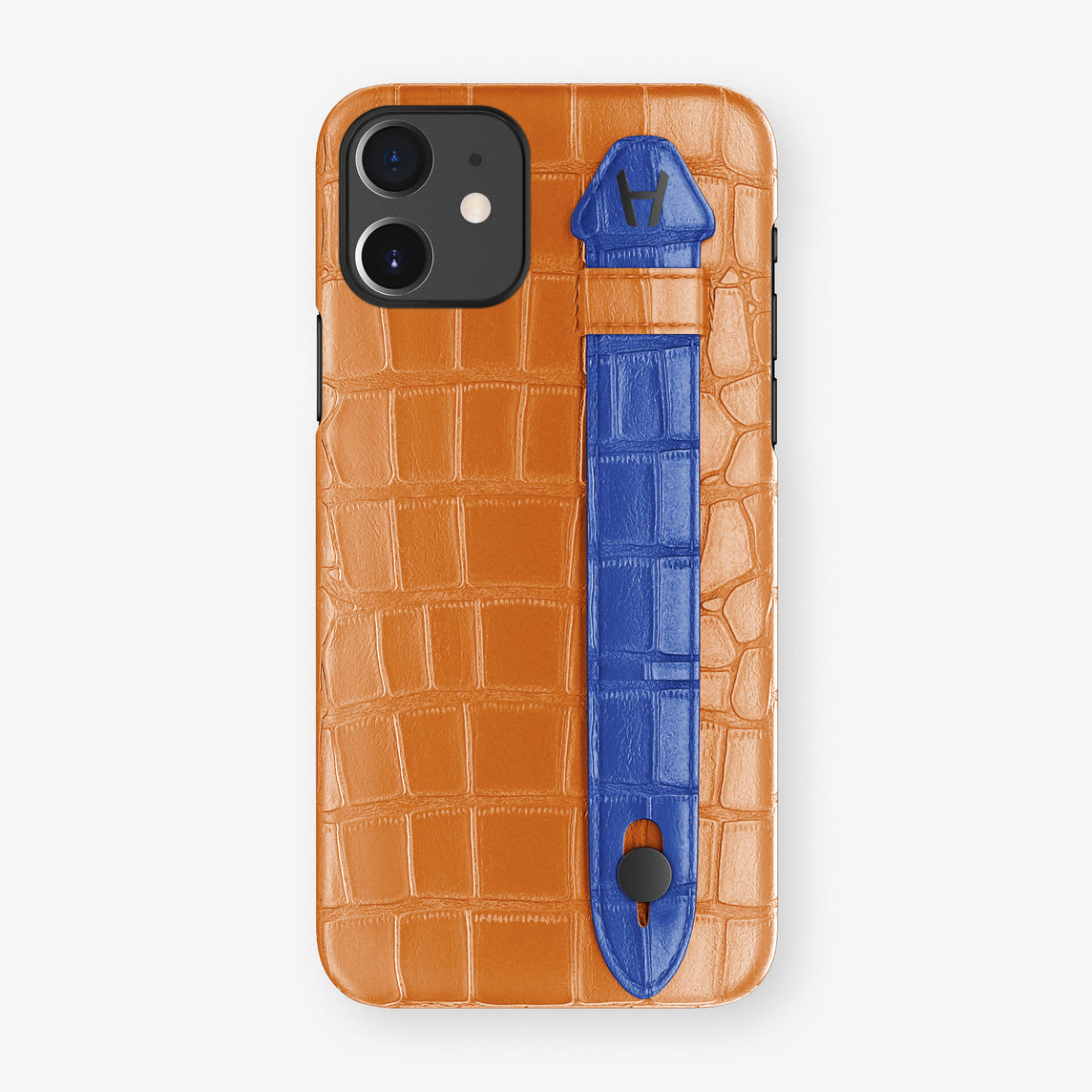 Alligator Side Finger Case Phone 11  | Orange/Peony-Blue - Black