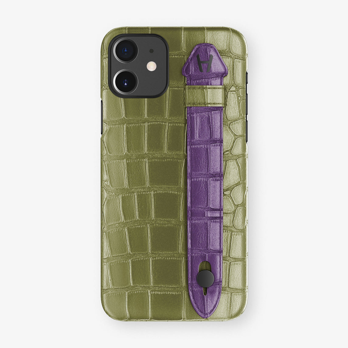 Alligator Side Finger Case Phone 11  | Khaki/Purple - Black