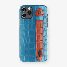 Alligator Side Finger Case Phone 11 Pro  | Blue-Lagoon/Red - Black