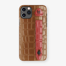 Alligator Side Finger Case Phone 11 Pro  | Cognac/Red-Ruby-Nacre - Black