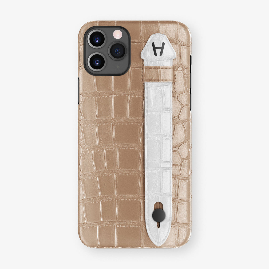 Alligator Side Finger Case Phone 11 Pro  | Latte/White - Black