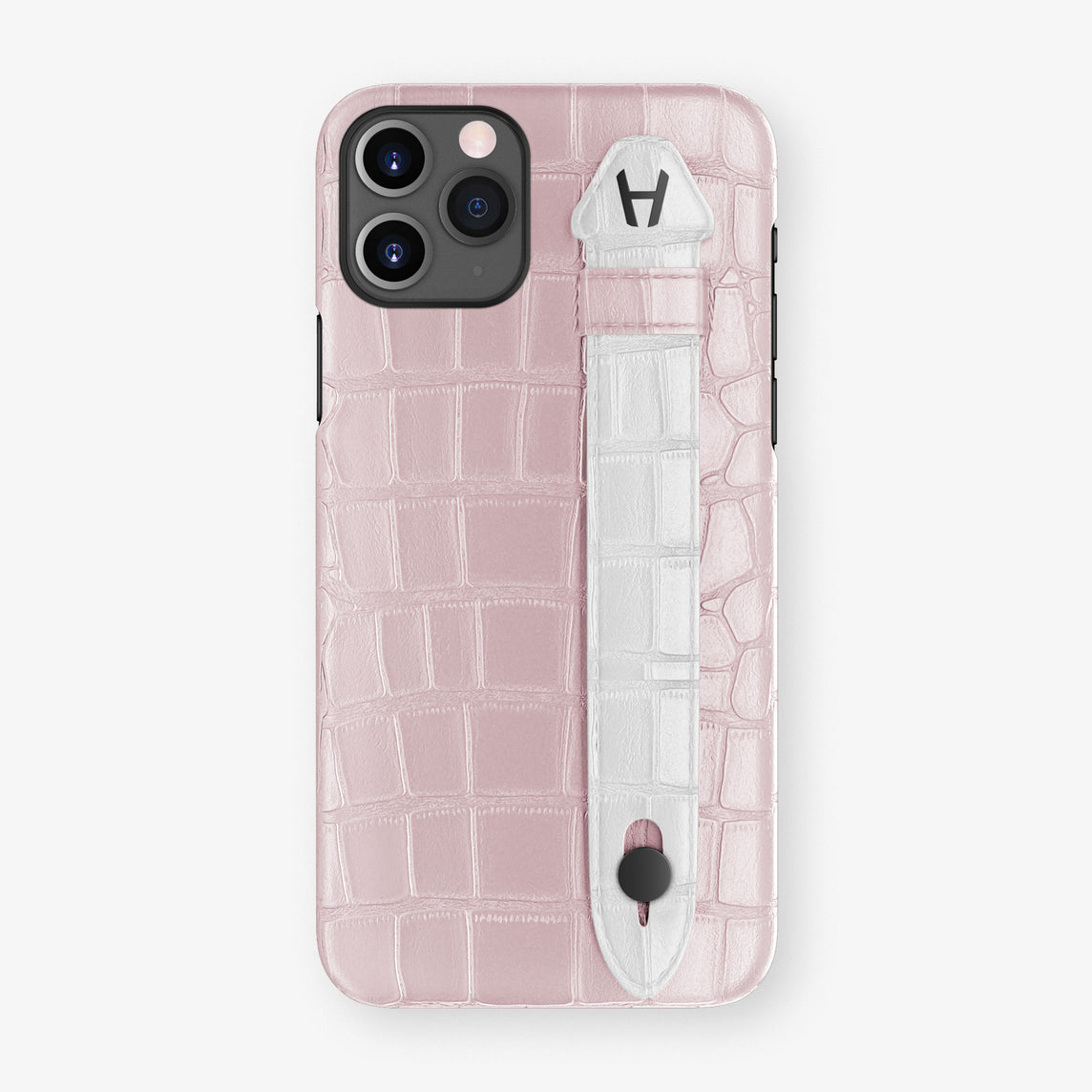 Alligator Side Finger Case Phone 11 Pro  | Pink-Poudre/White - Black