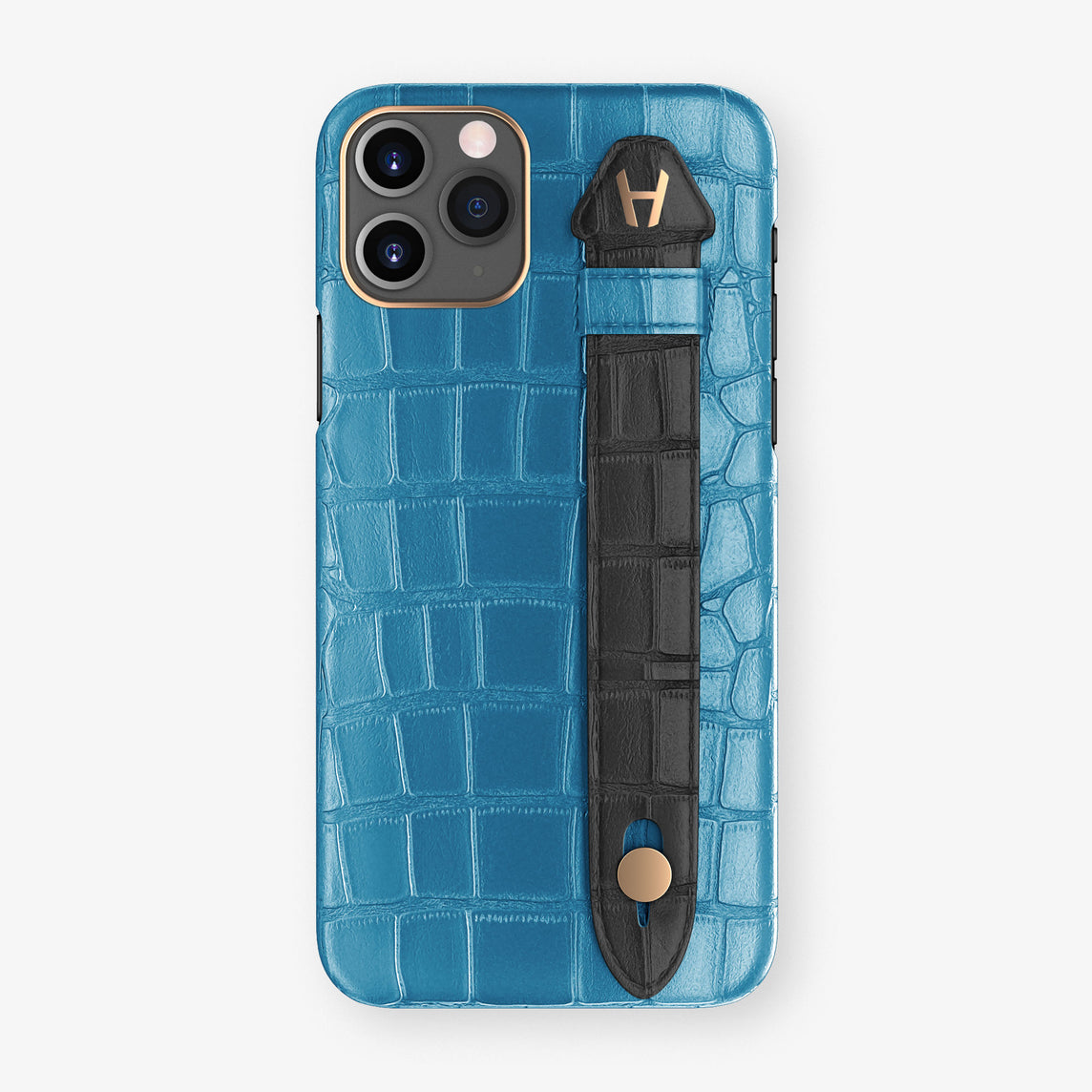 Alligator Side Finger Case Phone 11 Pro  | Blue-Lagoon/Black - Rose Gold