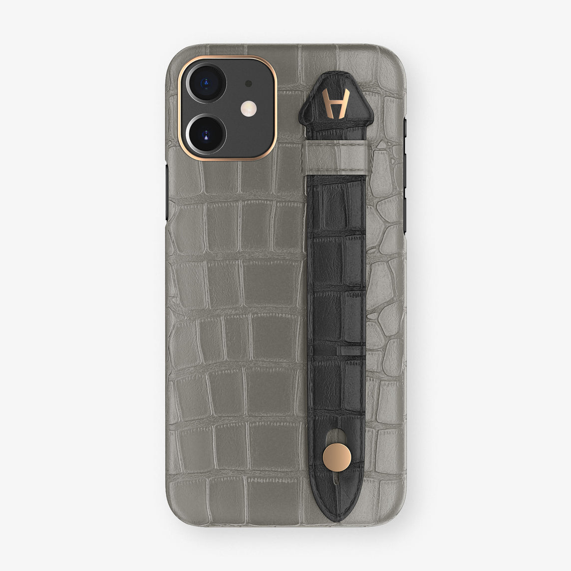 Alligator Side Finger Case Phone 11  | Grey/Black - Rose Gold