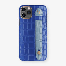 Alligator Side Finger Case Phone 11 Pro  | Peony-Blue/Blue-Ciel - Rose Gold