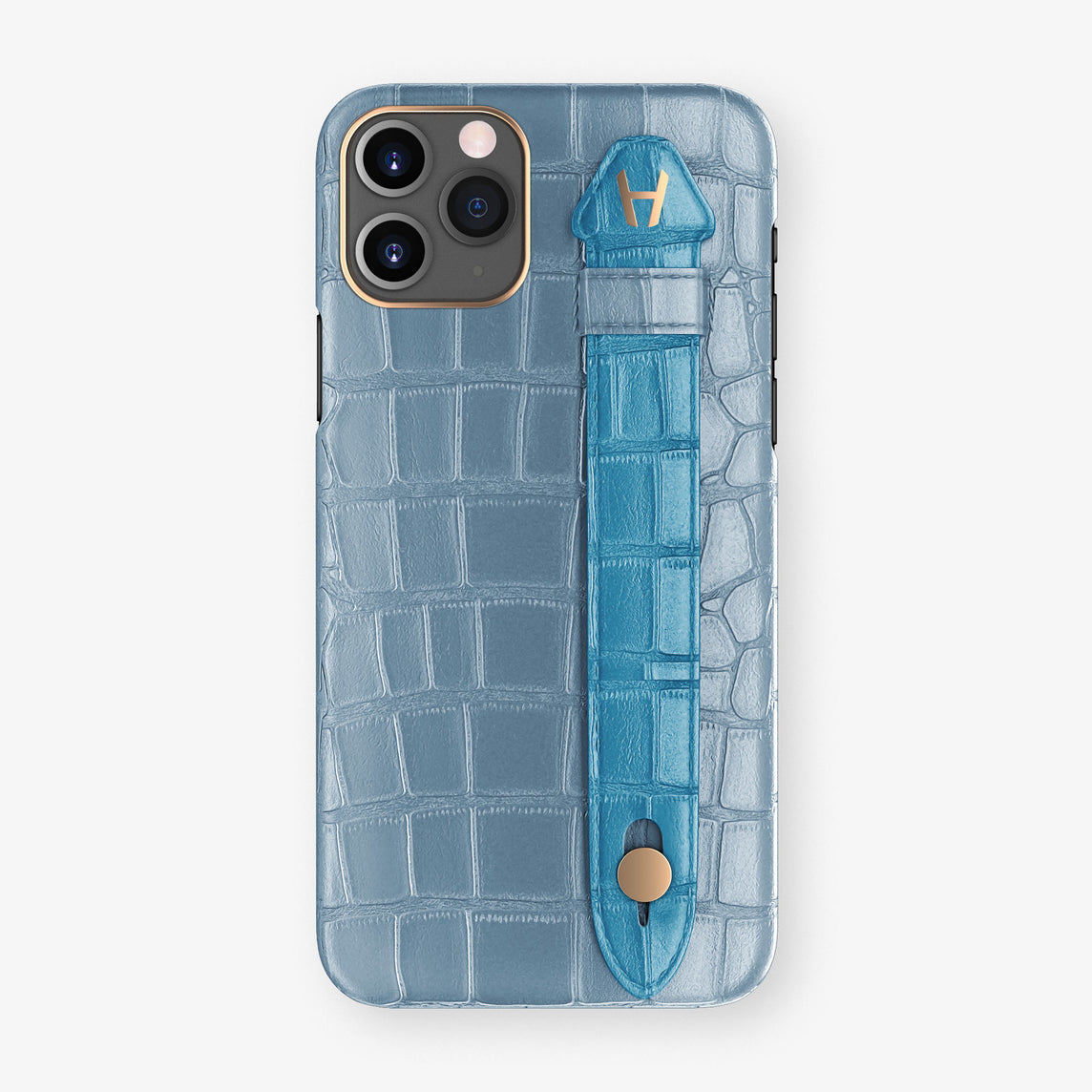 Alligator Side Finger Case Phone 11 Pro  | Blue-Ciel/Blue-Lagoon - Rose Gold