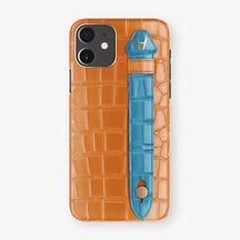 Alligator Side Finger Case Phone 11  | Orange/Blue-Lagoon - Rose Gold
