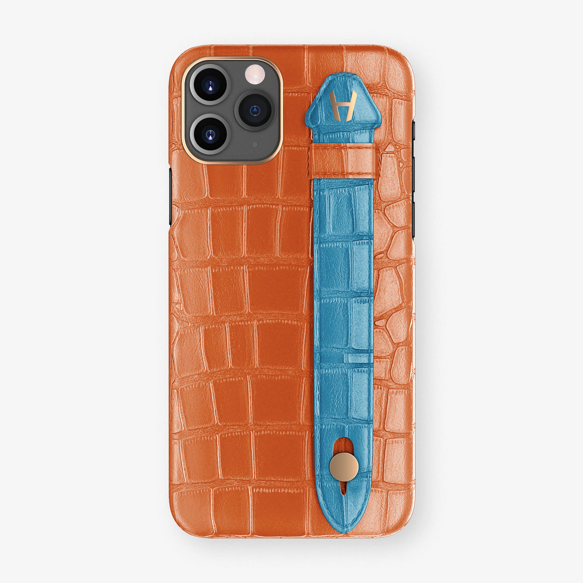 Alligator Side Finger Case Phone 11 Pro  | Orange-Sunset/Blue-Lagoon - Rose Gold