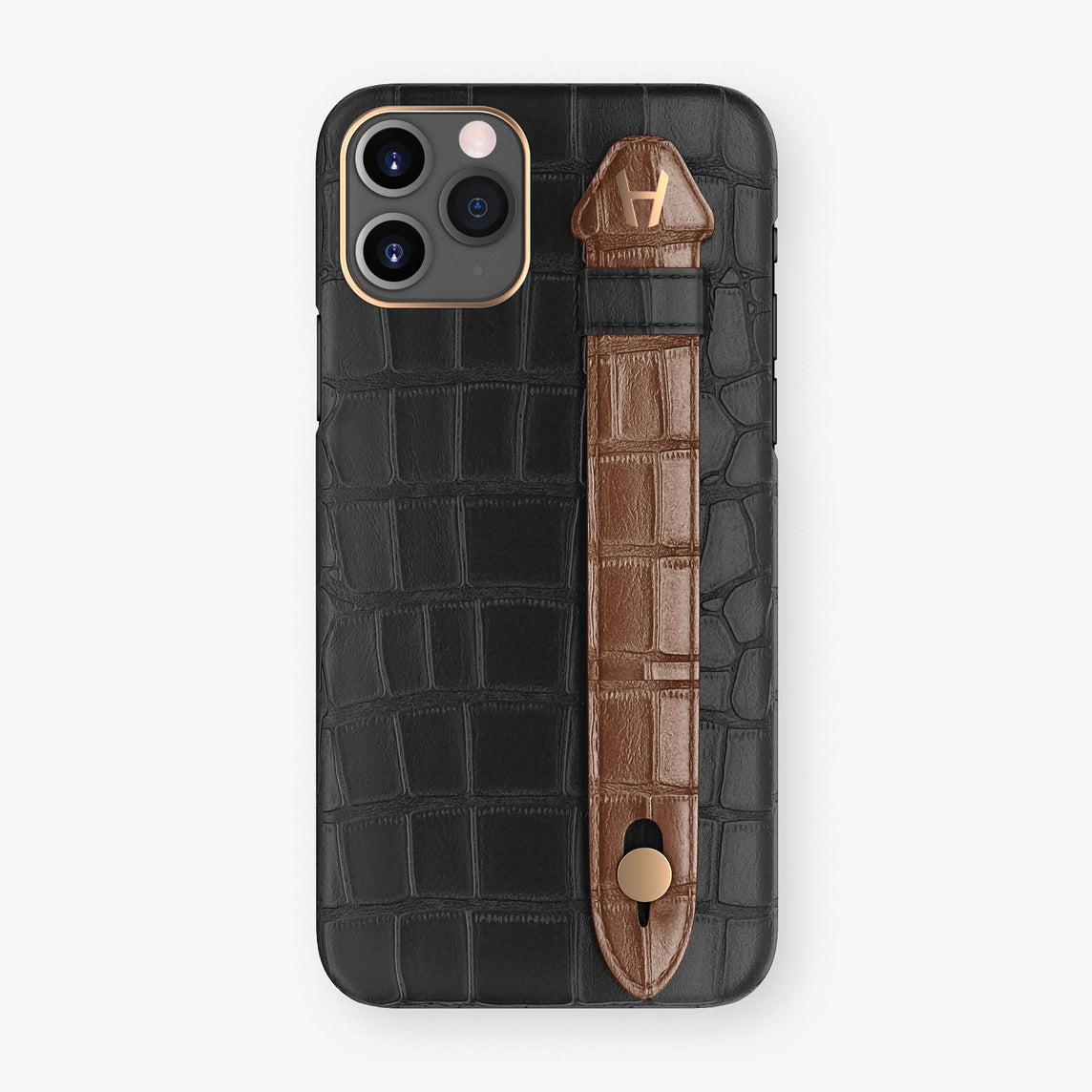 Alligator Side Finger Case Phone 11 Pro  | Black/Brown - Rose Gold