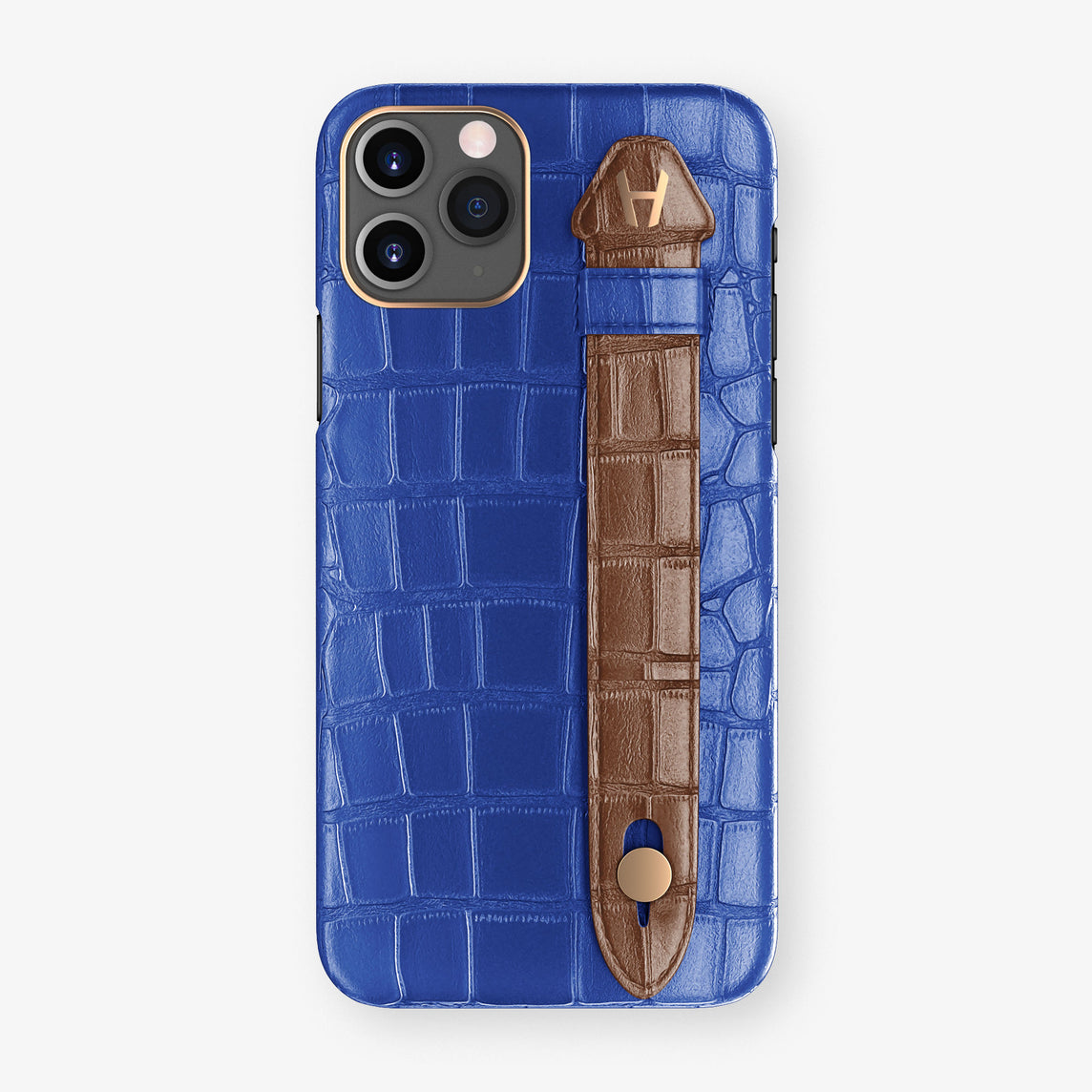 Alligator Side Finger Case Phone 11 Pro  | Peony-Blue/Brown - Rose Gold