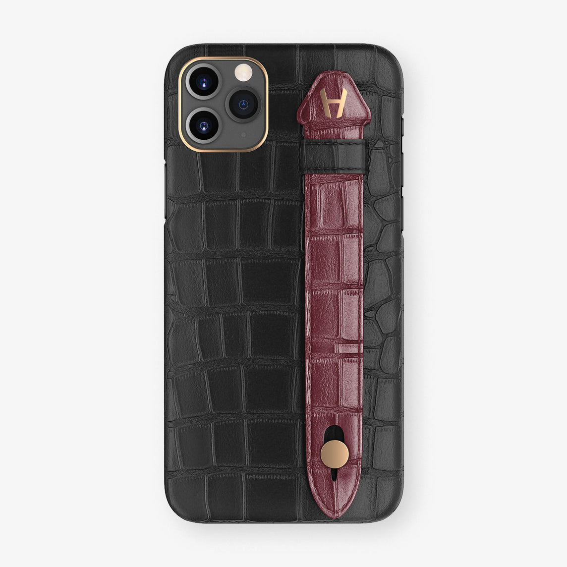 Alligator Side Finger Case Phone 11 Pro Max  | Black/Burgundy - Rose Gold